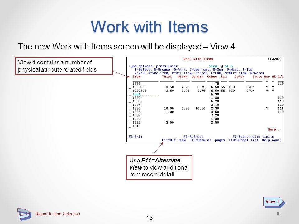 Return to Item Selection Work with Items The new Work with Items screen will be displayed – View 3 View 3 includes a number of price / cost related fields 12 View 4 Use F11=Alternate view to view additional item record detail
