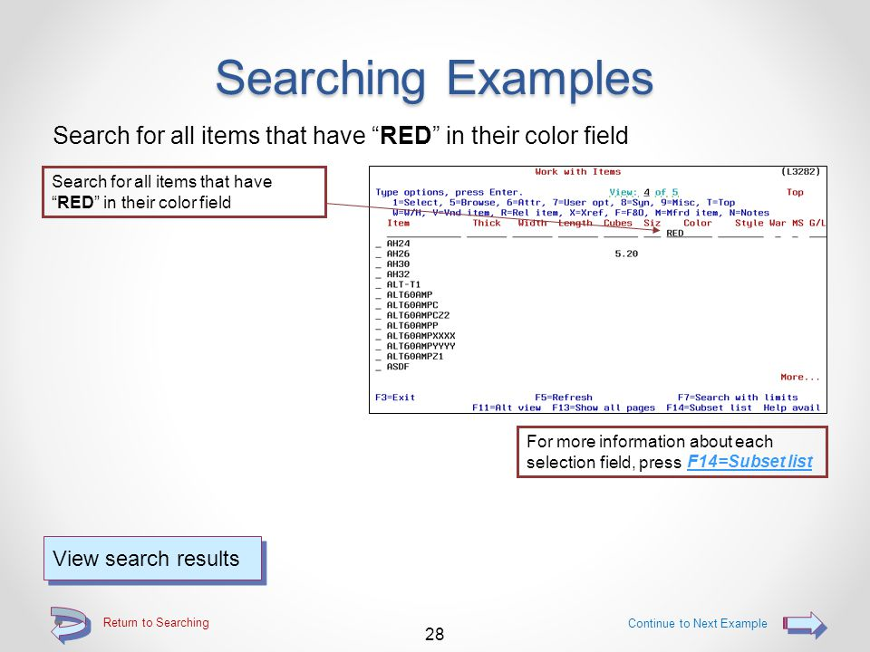 """Return to Searching Searching Examples Search for all items that are """"Catch Weight"""" items Search for all items that are """"Catch Weight"""" items using eit"""