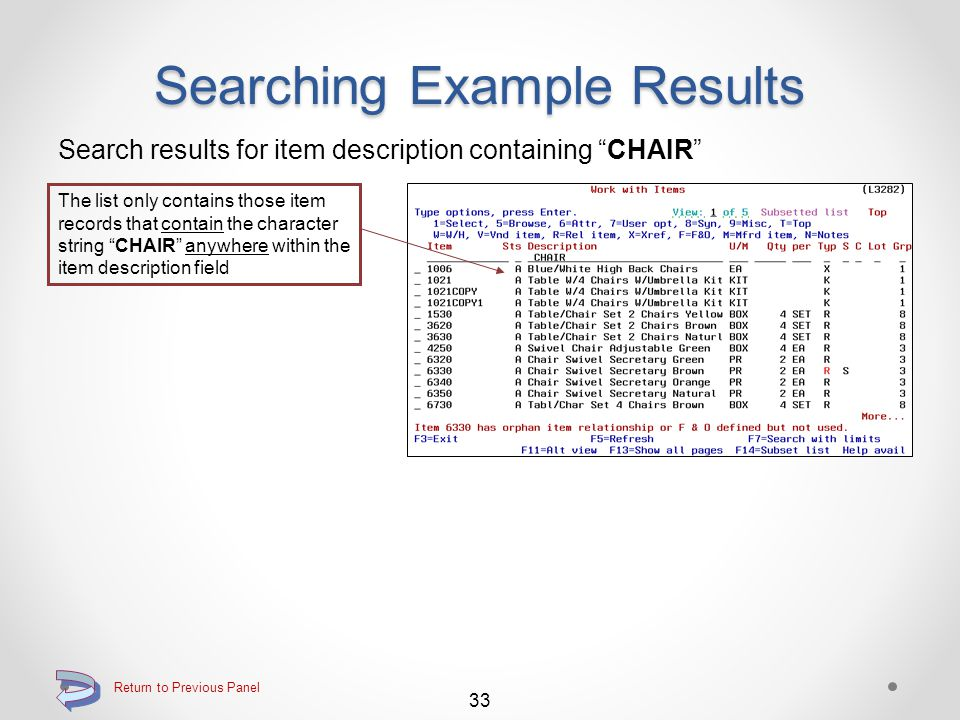 Searching Example Results Search results for item description beginning with CABLE The list includes only those items whose descriptions begin with CABLE 32 Return to Previous Panel