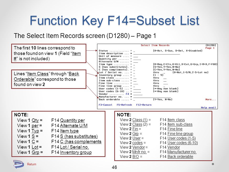 """Return to Searching Function Key F14=Subset List The Select Item Records screen (D1280) – Page 2 45 Lines """"Price divisor"""" through """"Tax code"""" correspon"""