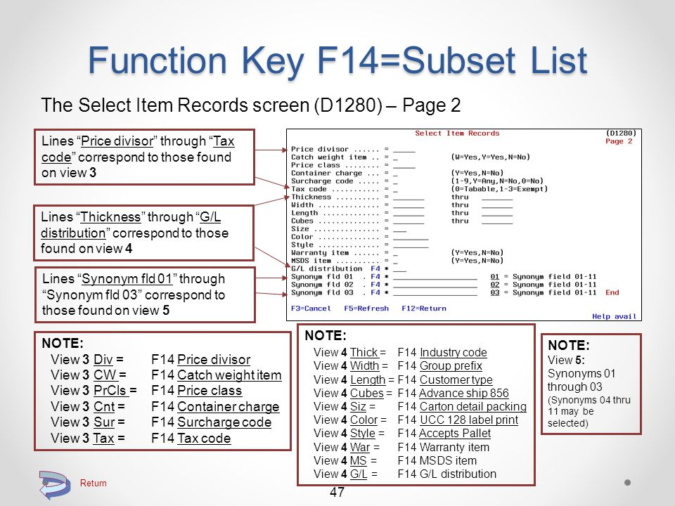 Function Key F14=Subset List The Select Item Records screen (D1280) – Page 1 The first 10 lines correspond to those found on view 1 (Field Item # is not included) 46 Lines Item Class through Back Orderable correspond to those found on view 2 NOTE: View 1 Qty = F14 Quantity per View 1 per =F14 Alternate U/M View 1 Typ =F14 Item type View 1 S = F14 S (has substitutes) View 1 C = F14 C (has complements View 1 Lot = F14 Lot / Serial no.