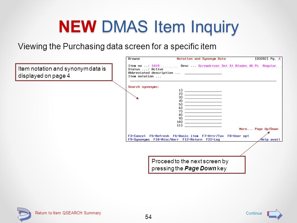 Return to Item QSEARCH Summary NEW DMAS Item Inquiry Viewing the Sales Data screen for a specific item 53 Continue Item and user options are displayed on page 3 Proceed to the next screen by pressing the Page Down key