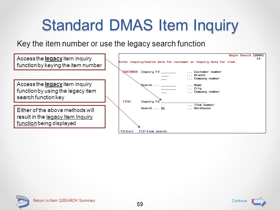 Standard DMAS Item Inquiry All previous DMAS item inquiry screens are still available via o Keying the item number on the Begin Search screen (Q08A) o