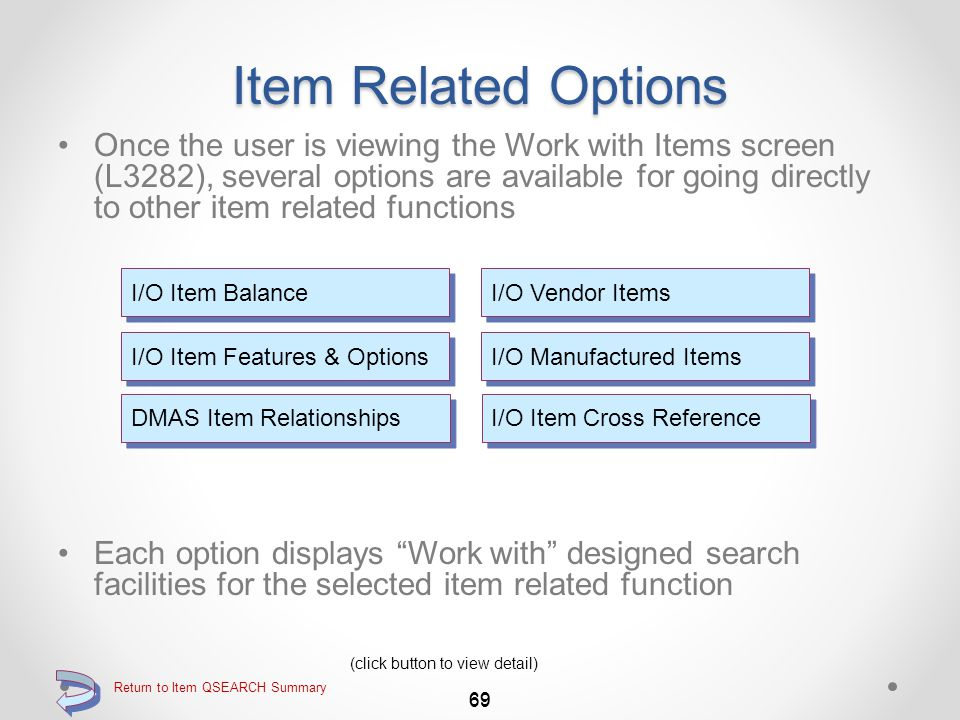 Return to Item QSEARCH Summary Standard DMAS Item Inquiry Viewing the Item Notes window for a specific item 68 Exit this window by pressing function key F3=Exit Item notes are displayed for the specified item