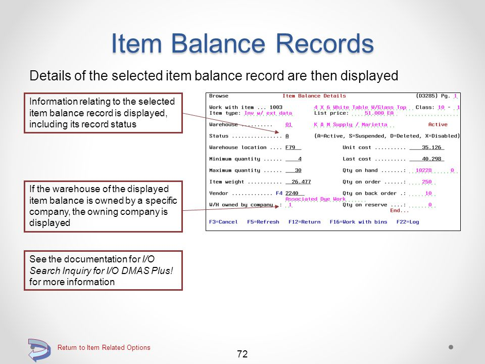 Item Balance Records The Item Balance Inquiry screen is then displayed The screen is automatically limited to the selected item and displays a list of