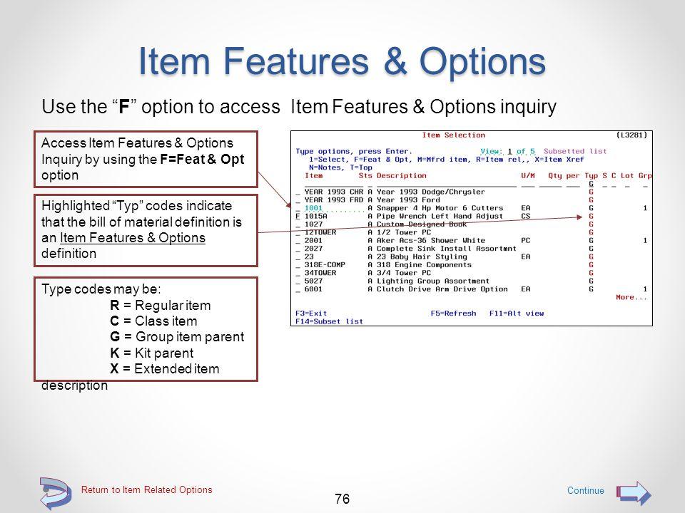 Vendor Item Records Details of the selected vendor / item are then displayed Information relating to the selected vendor / item record is displayed, i