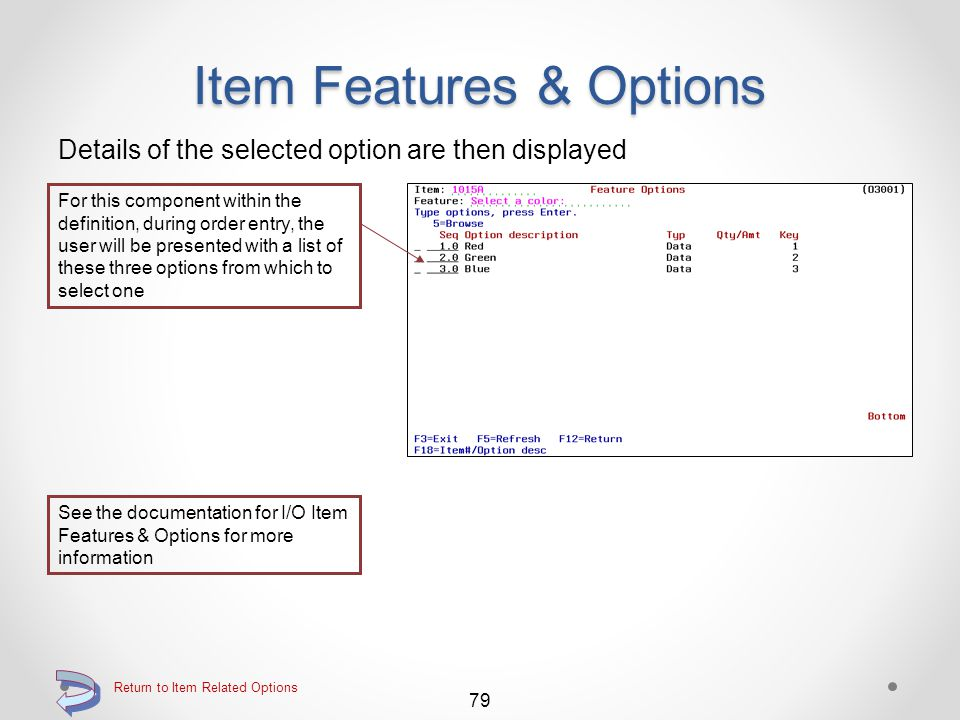 Item Features & Options Details of the selected feature item are then displayed If an option component is displayed, use the O=With options option to view the option details 78 Return to Item Related Options Components may be an item, a list of options, a field of data, etc.