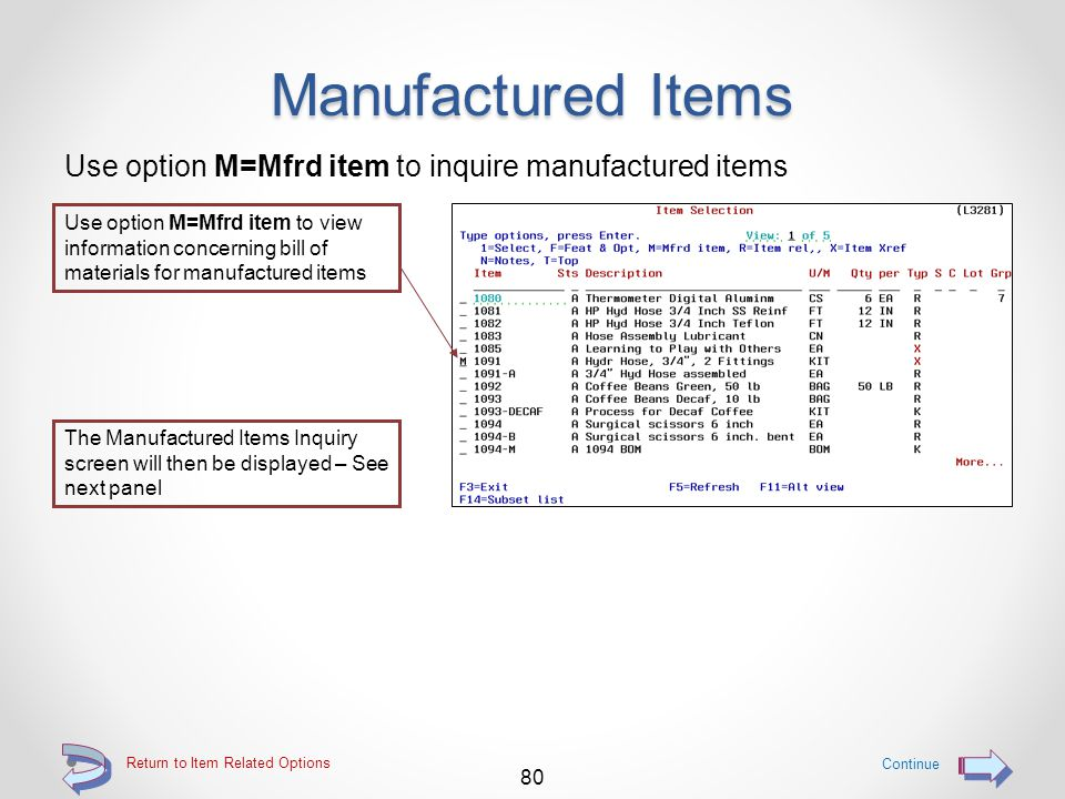 Item Features & Options Details of the selected option are then displayed For this component within the definition, during order entry, the user will be presented with a list of these three options from which to select one 79 Return to Item Related Options See the documentation for I/O Item Features & Options for more information