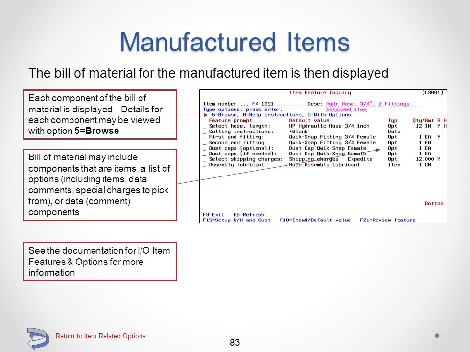Manufactured Items The Manufactured Items Inquiry detail screen is then displayed The details of the relationship of the parent item to the manufactur