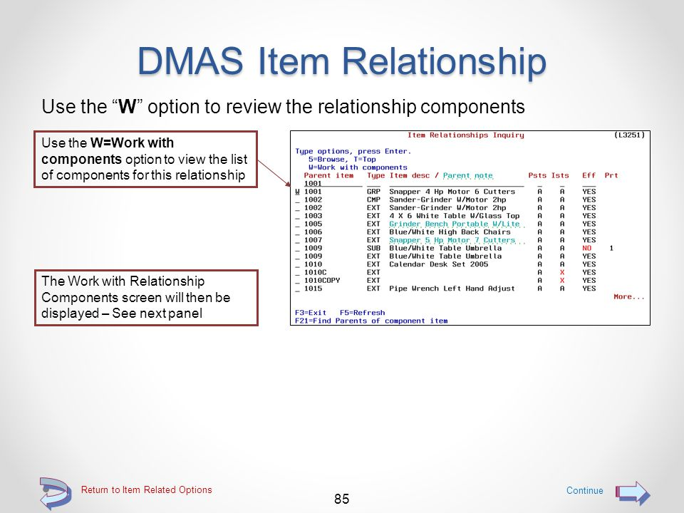 DMAS Item Relationship Use the R option to access Item Relationship inquiry Since the Typ for this item is NOT highlighted, the Group definition resides in the DMAS Item Relationship file 84 Return to Item Related Options Use option R=Item rel to inquire into the Item Relationship file for this item's definition The item Relationships Inquiry screen will then be displayed – See next panel Continue