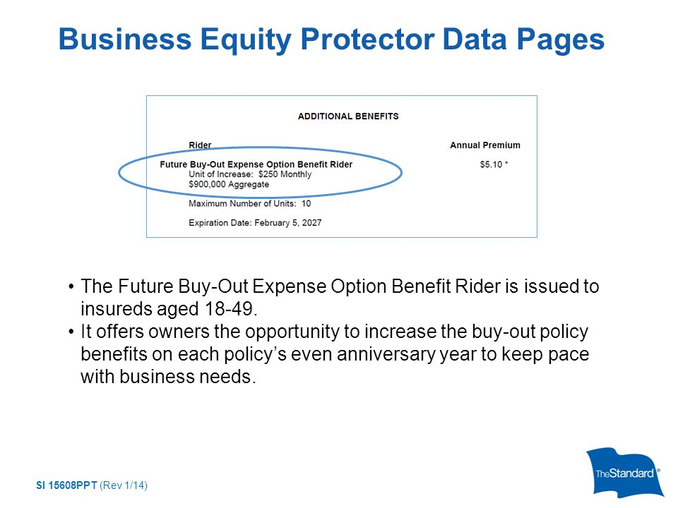 SI 15608PPT (Rev 1/14) Business Equity Protector Data Pages The Future Buy-Out Expense Option Benefit Rider is issued to insureds aged 18-49.