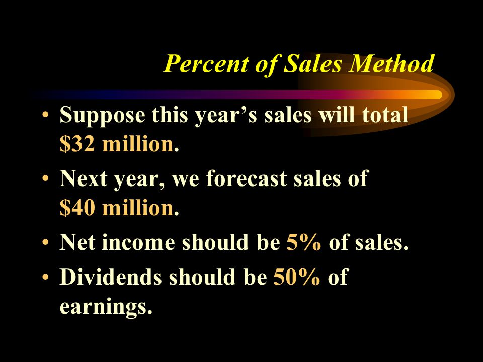 Percent of Sales Method Suppose this year's sales will total $32 million. Next year, we forecast sales of $40 million. Net income should be 5% of sale