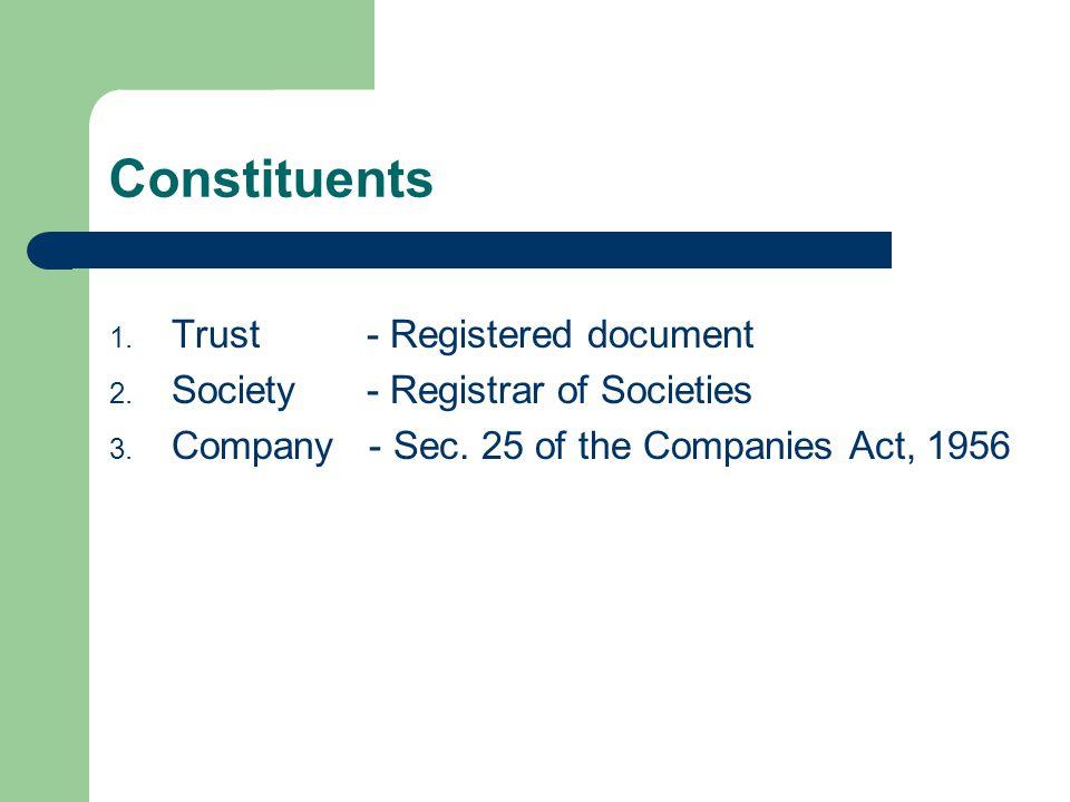 Constituents 1. Trust - Registered document 2. Society - Registrar of Societies 3.