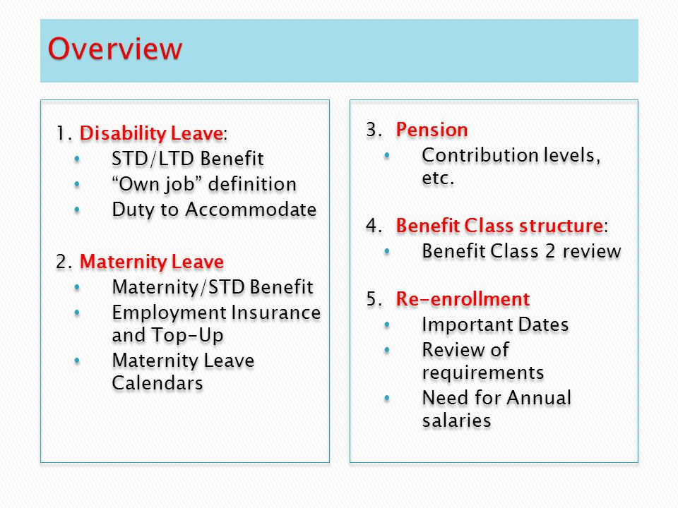 "1. Disability Leave: STD/LTD Benefit ""Own job"" definition Duty to Accommodate 2. Maternity Leave Maternity/STD Benefit Employment Insurance and Top-Up"