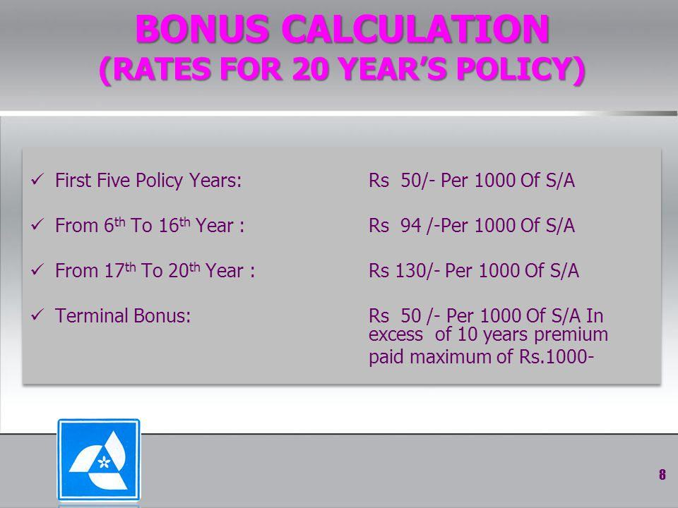 BONUS CALCULATION (RATES FOR 20 YEAR'S POLICY) First Five Policy Years: Rs 50/- Per 1000 Of S/A From 6 th To 16 th Year : Rs 94 /-Per 1000 Of S/A From 17 th To 20 th Year : Rs 130/- Per 1000 Of S/A Terminal Bonus: Rs 50 /- Per 1000 Of S/A In excess of 10 years premium paid maximum of Rs.1000- First Five Policy Years: Rs 50/- Per 1000 Of S/A From 6 th To 16 th Year : Rs 94 /-Per 1000 Of S/A From 17 th To 20 th Year : Rs 130/- Per 1000 Of S/A Terminal Bonus: Rs 50 /- Per 1000 Of S/A In excess of 10 years premium paid maximum of Rs.1000- 8