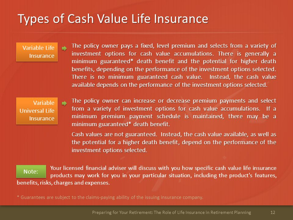 Types of Cash Value Life Insurance 12Preparing for Your Retirement: The Role of Life Insurance in Retirement Planning * Guarantees are subject to the