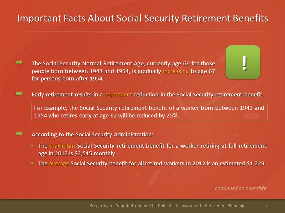 Important Facts About Social Security Retirement Benefits 5Preparing for Your Retirement: The Role of Life Insurance in Retirement Planning The Social Security spousal retirement benefit is limited to a maximum of 50% of the retired worker's benefit.