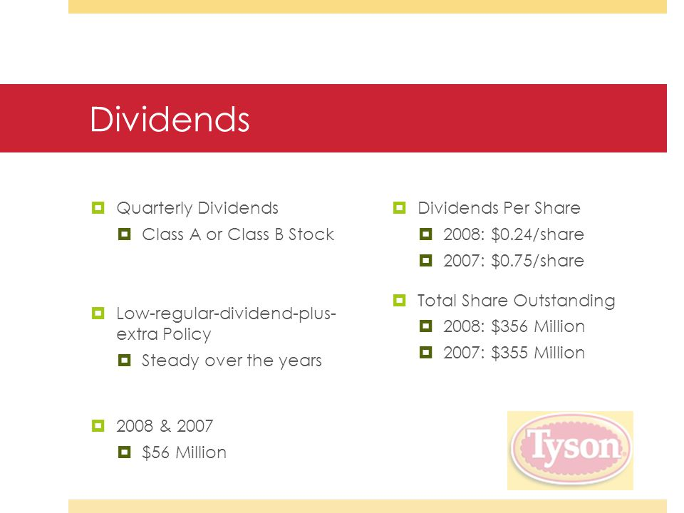 Dividends  Quarterly Dividends  Class A or Class B Stock  Low-regular-dividend-plus- extra Policy  Steady over the years  2008 & 2007  $56 Million  Dividends Per Share  2008: $0.24/share  2007: $0.75/share  Total Share Outstanding  2008: $356 Million  2007: $355 Million
