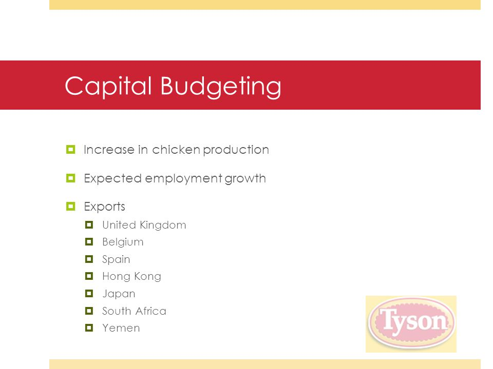 Capital Budgeting  Increase in chicken production  Expected employment growth  Exports  United Kingdom  Belgium  Spain  Hong Kong  Japan  South Africa  Yemen