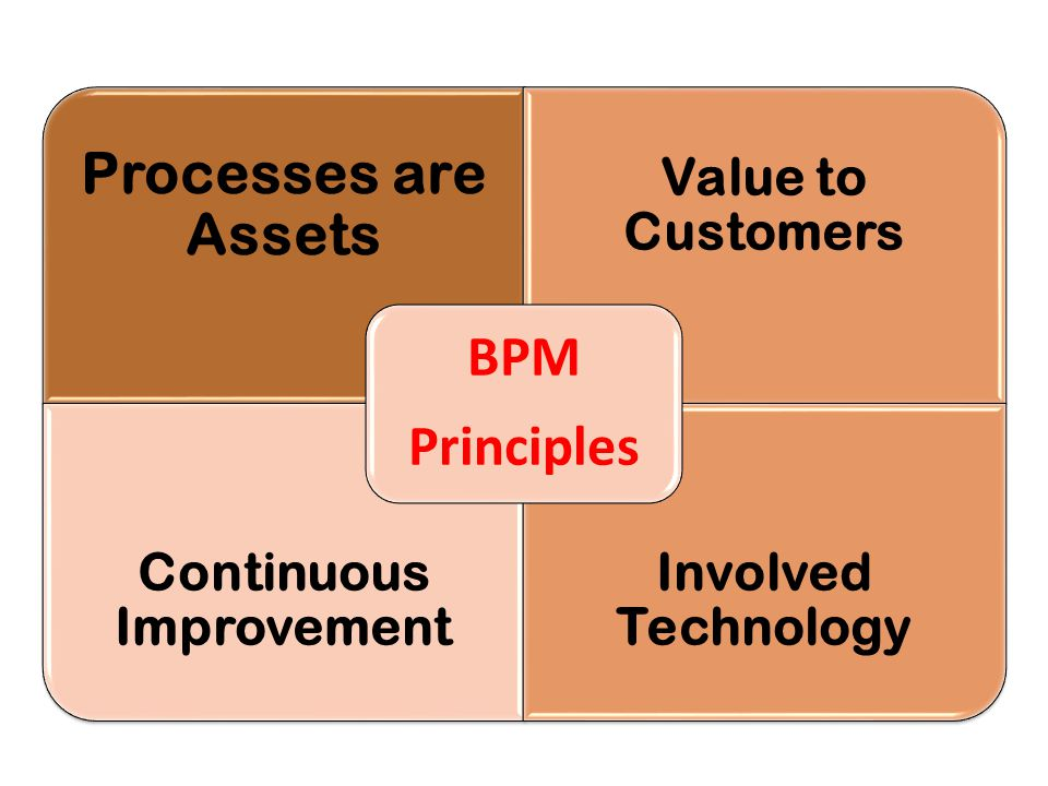 Processes are Assets Value to Customers Continuous Improvement Involved Technology BPM Principles
