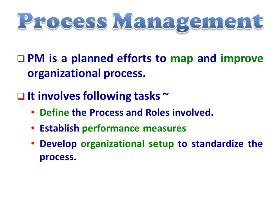  PM is a planned efforts to map and improve organizational process.
