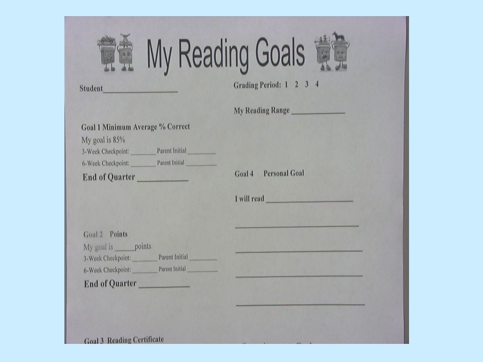 Accelerated Reader (AR) 85% comprehension score Goals -Students help set goals Quick Comprehension Results AR Goal is 10% of the Reading grade We want kids to LOVE reading!