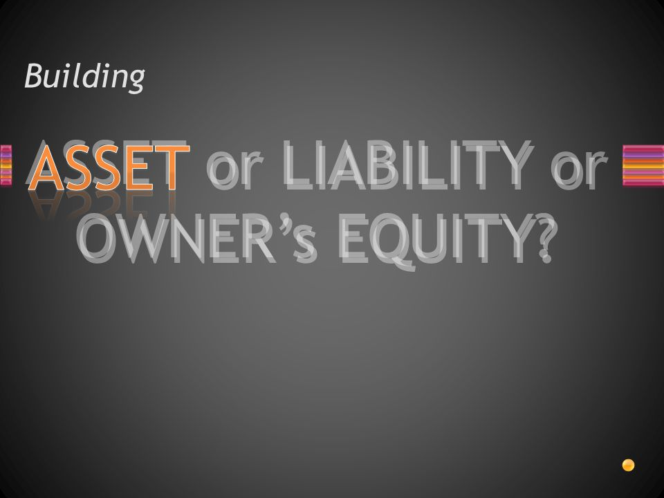 ASSET or LIABILITY or OWNER's EQUITY? Building