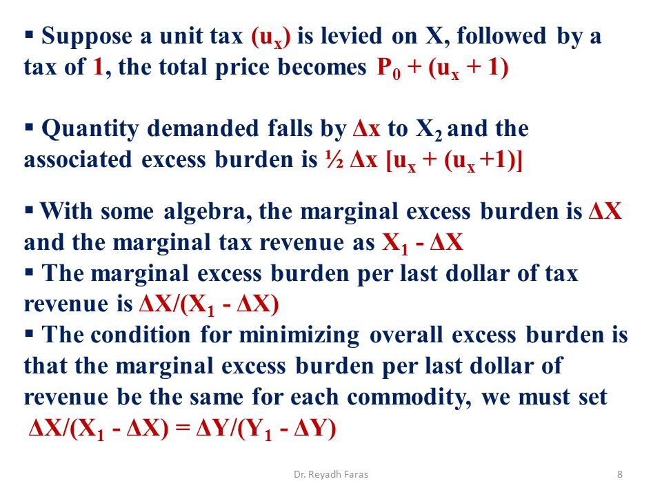 Suppose a unit tax (u x ) is levied on X, followed by a tax of 1, the total price becomes P 0 + (u x + 1)  Quantity demanded falls by Δx to X 2 and
