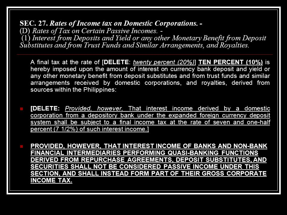 SEC. 27. Rates of Income tax on Domestic Corporations.