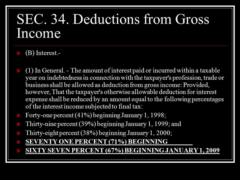 SEC. 34. Deductions from Gross Income (B) Interest.- (1) In General.