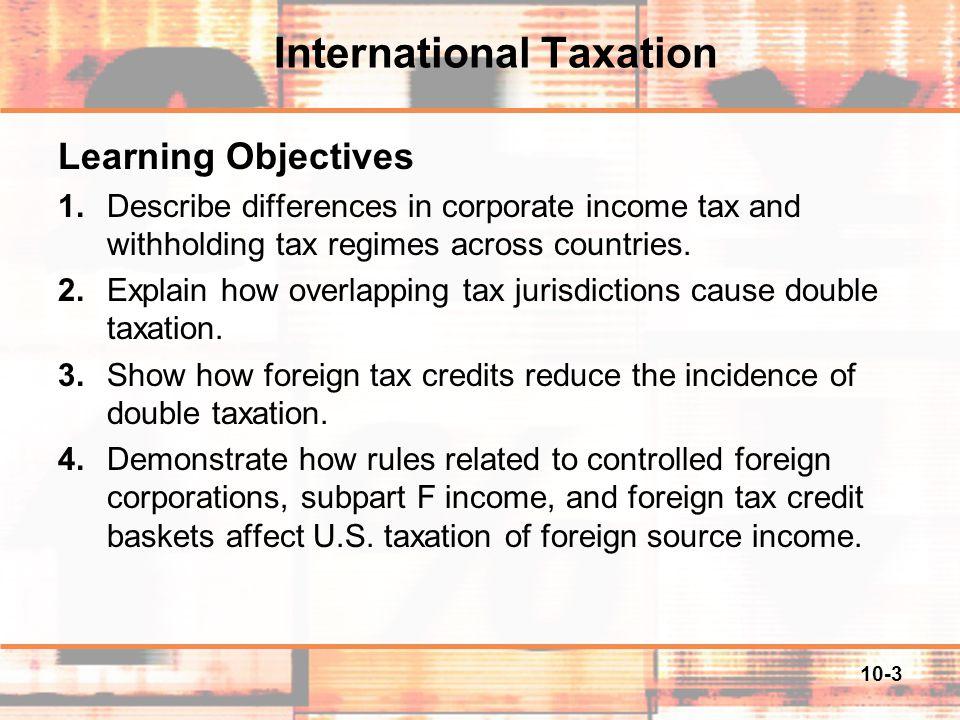 10-14 Tax Jurisdiction and Double Taxation Basis for taxation – The U.S.