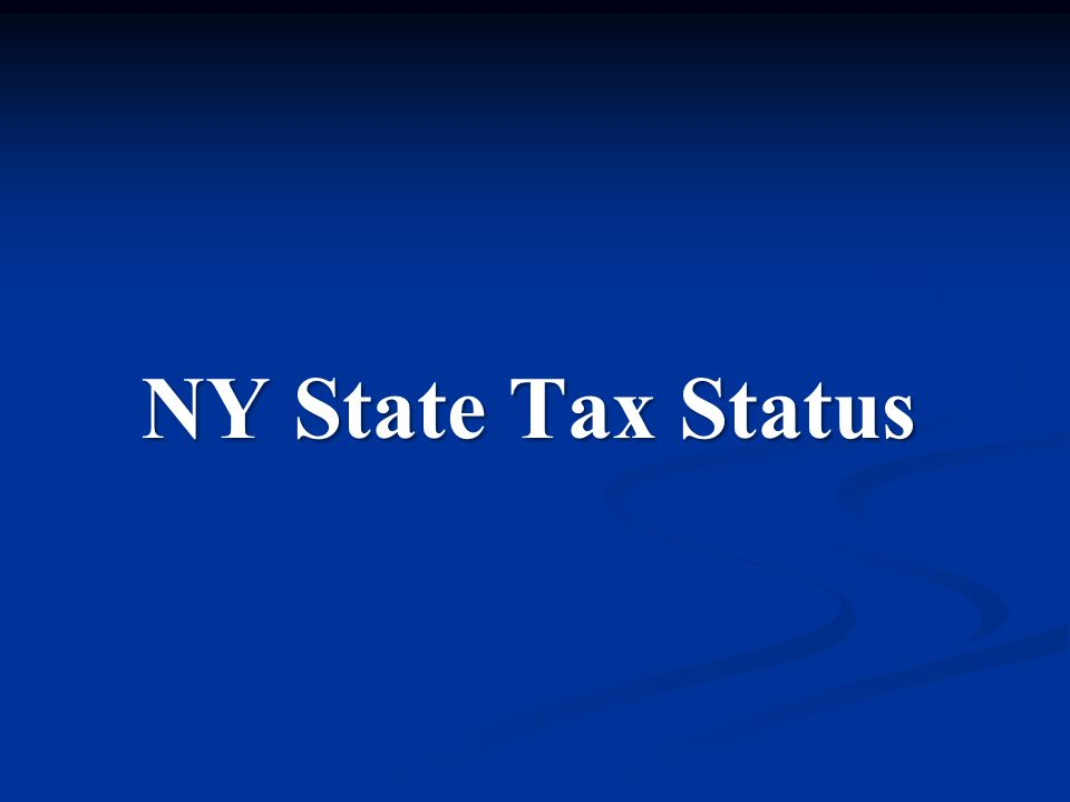 NY State Tax Status