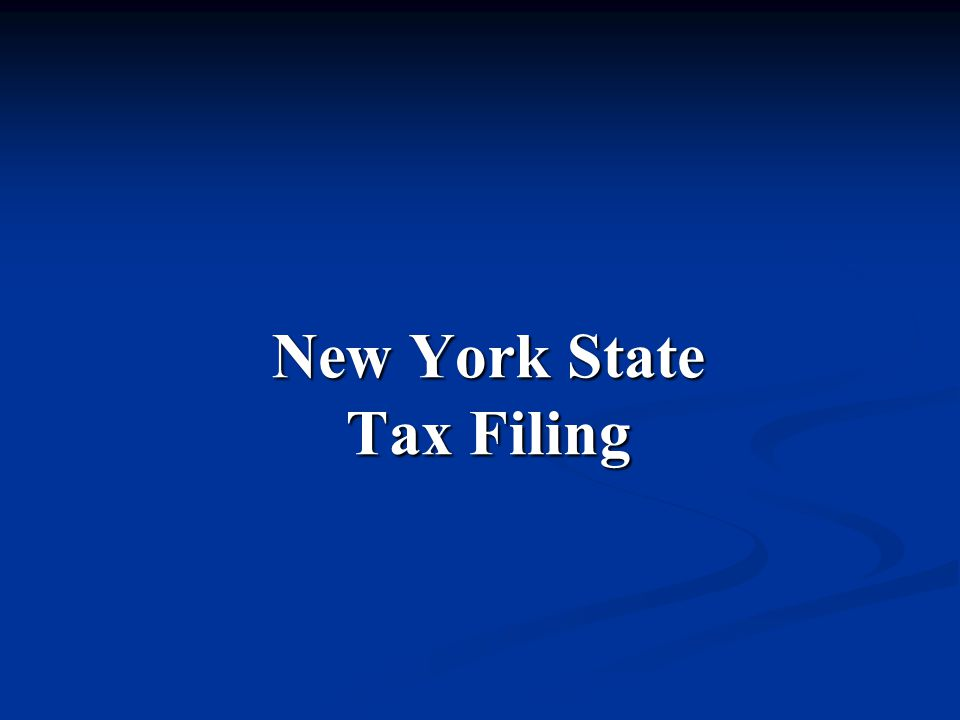 New York State Tax Filing