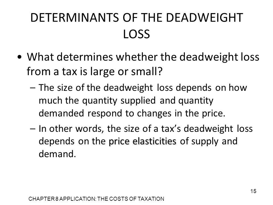 CHAPTER 8 APPLICATION: THE COSTS OF TAXATION 15 DETERMINANTS OF THE DEADWEIGHT LOSS What determines whether the deadweight loss from a tax is large or small.