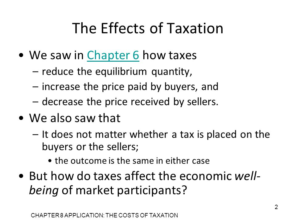 CHAPTER 8 APPLICATION: THE COSTS OF TAXATION 2 The Effects of Taxation We saw in Chapter 6 how taxesChapter 6 –reduce the equilibrium quantity, –increase the price paid by buyers, and –decrease the price received by sellers.