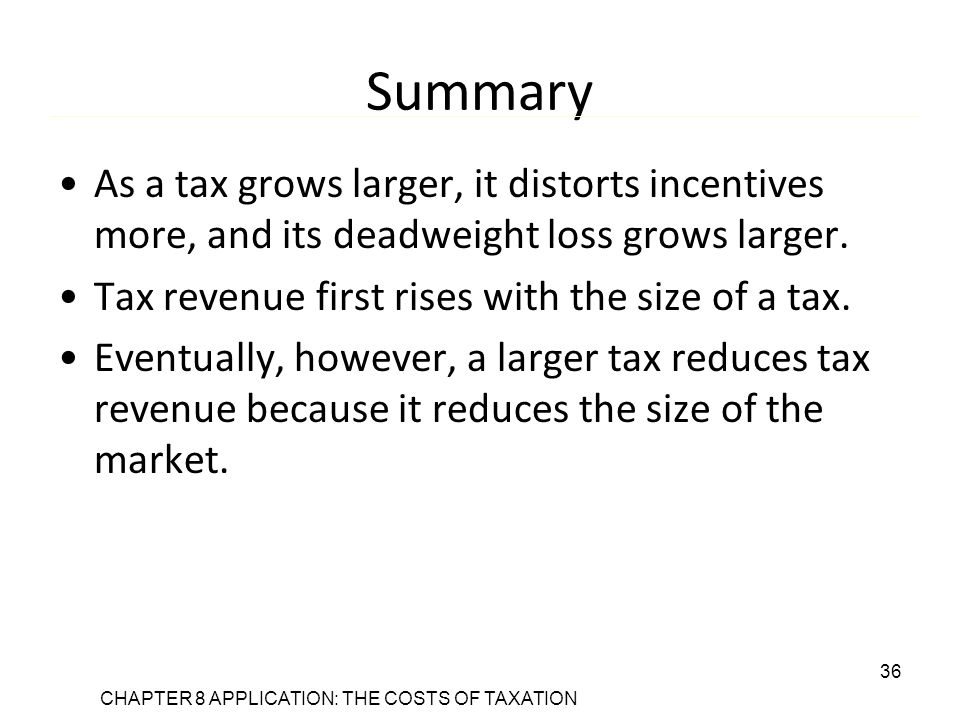 CHAPTER 8 APPLICATION: THE COSTS OF TAXATION 36 Summary As a tax grows larger, it distorts incentives more, and its deadweight loss grows larger.