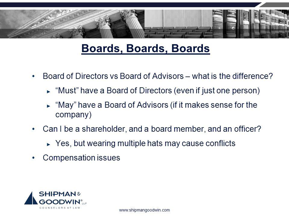 "www.shipmangoodwin.com Boards, Boards, Boards Board of Directors vs Board of Advisors – what is the difference? ► ""Must"" have a Board of Directors (ev"