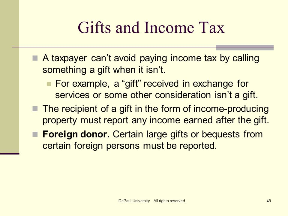 Gifts and Income Tax A taxpayer can't avoid paying income tax by calling something a gift when it isn't.