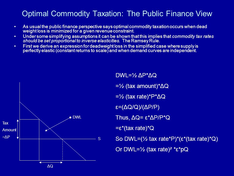 Optimal Commodity Taxation: The Public Finance View As usual the public finance perspective says optimal commodity taxation occurs when dead weight loss is minimized for a given revenue constraint.