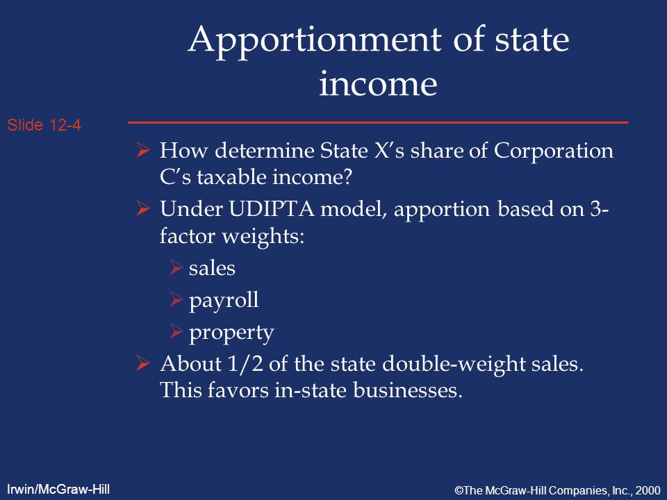 Slide 12-4 Irwin/McGraw-Hill ©The McGraw-Hill Companies, Inc., 2000 Apportionment of state income  How determine State X's share of Corporation C's taxable income.