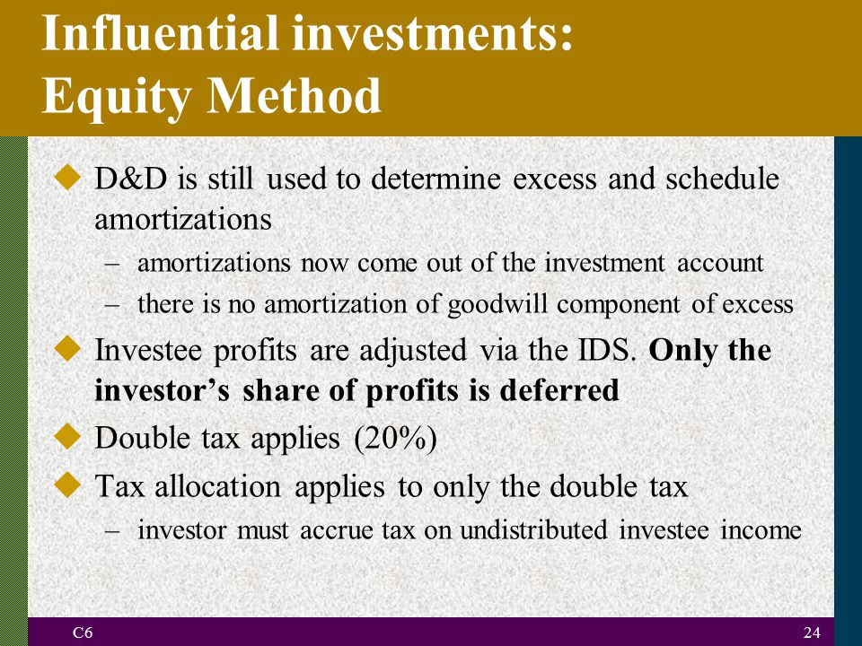 C624 Influential investments: Equity Method uD&D is still used to determine excess and schedule amortizations –amortizations now come out of the investment account –there is no amortization of goodwill component of excess uInvestee profits are adjusted via the IDS.