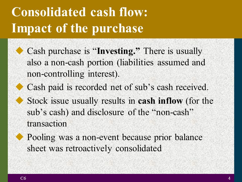 C64 uCash purchase is Investing. There is usually also a non-cash portion (liabilities assumed and non-controlling interest).