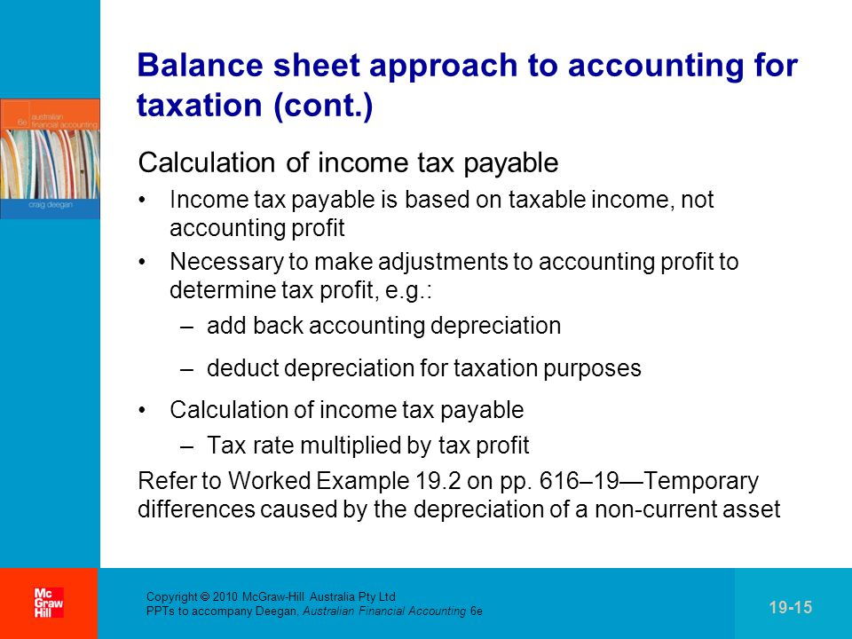 Copyright  2010 McGraw-Hill Australia Pty Ltd PPTs to accompany Deegan, Australian Financial Accounting 6e 19-15 Balance sheet approach to accounting for taxation (cont.) Calculation of income tax payable Income tax payable is based on taxable income, not accounting profit Necessary to make adjustments to accounting profit to determine tax profit, e.g.: –add back accounting depreciation –deduct depreciation for taxation purposes Calculation of income tax payable –Tax rate multiplied by tax profit Refer to Worked Example 19.2 on pp.