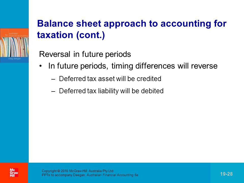 . Copyright  2010 McGraw-Hill Australia Pty Ltd PPTs to accompany Deegan, Australian Financial Accounting 6e 19-28 Balance sheet approach to accounting for taxation (cont.) Reversal in future periods In future periods, timing differences will reverse –Deferred tax asset will be credited –Deferred tax liability will be debited