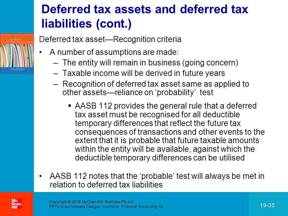 . Copyright  2010 McGraw-Hill Australia Pty Ltd PPTs to accompany Deegan, Australian Financial Accounting 6e 19-35 Deferred tax assets and deferred tax liabilities (cont.) Deferred tax asset—Recognition criteria A number of assumptions are made: –The entity will remain in business (going concern) –Taxable income will be derived in future years –Recognition of deferred tax asset same as applied to other assets—reliance on 'probability' test  AASB 112 provides the general rule that a deferred tax asset must be recognised for all deductible temporary differences that reflect the future tax consequences of transactions and other events to the extent that it is probable that future taxable amounts within the entity will be available, against which the deductible temporary differences can be utilised AASB 112 notes that the 'probable' test will always be met in relation to deferred tax liabilities