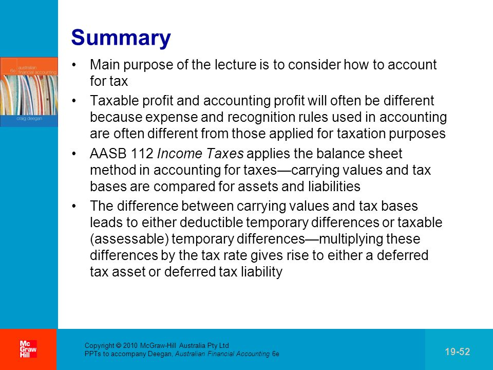 . Copyright  2010 McGraw-Hill Australia Pty Ltd PPTs to accompany Deegan, Australian Financial Accounting 6e 19-52 Summary Main purpose of the lecture is to consider how to account for tax Taxable profit and accounting profit will often be different because expense and recognition rules used in accounting are often different from those applied for taxation purposes AASB 112 Income Taxes applies the balance sheet method in accounting for taxes—carrying values and tax bases are compared for assets and liabilities The difference between carrying values and tax bases leads to either deductible temporary differences or taxable (assessable) temporary differences—multiplying these differences by the tax rate gives rise to either a deferred tax asset or deferred tax liability