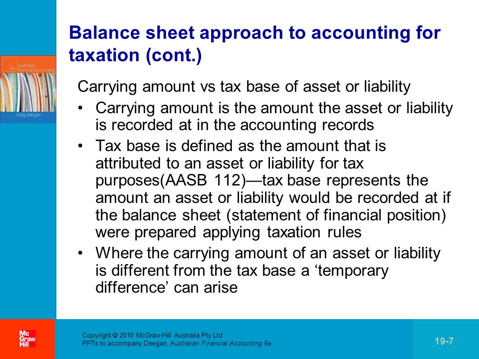 . Copyright  2010 McGraw-Hill Australia Pty Ltd PPTs to accompany Deegan, Australian Financial Accounting 6e 19-7 Balance sheet approach to accounting for taxation (cont.) Carrying amount vs tax base of asset or liability Carrying amount is the amount the asset or liability is recorded at in the accounting records Tax base is defined as the amount that is attributed to an asset or liability for tax purposes(AASB 112)—tax base represents the amount an asset or liability would be recorded at if the balance sheet (statement of financial position) were prepared applying taxation rules Where the carrying amount of an asset or liability is different from the tax base a 'temporary difference' can arise
