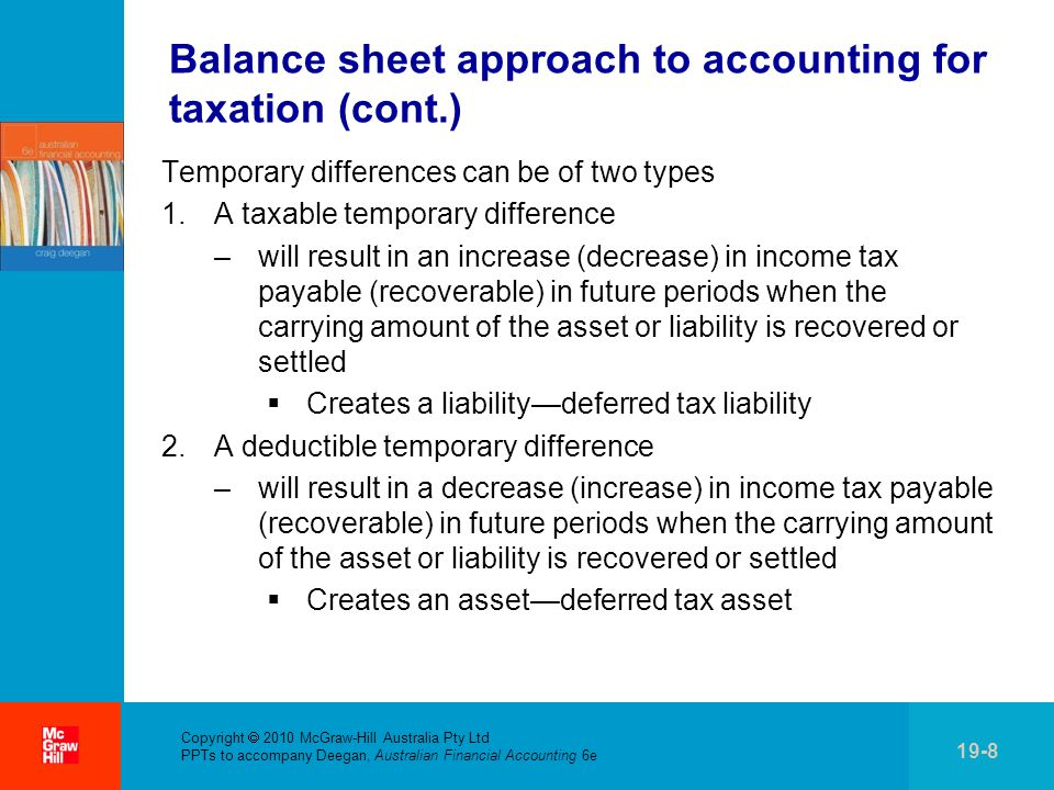 . Copyright  2010 McGraw-Hill Australia Pty Ltd PPTs to accompany Deegan, Australian Financial Accounting 6e 19-8 Balance sheet approach to accounting for taxation (cont.) Temporary differences can be of two types 1.A taxable temporary difference –will result in an increase (decrease) in income tax payable (recoverable) in future periods when the carrying amount of the asset or liability is recovered or settled  Creates a liability—deferred tax liability 2.A deductible temporary difference –will result in a decrease (increase) in income tax payable (recoverable) in future periods when the carrying amount of the asset or liability is recovered or settled  Creates an asset—deferred tax asset