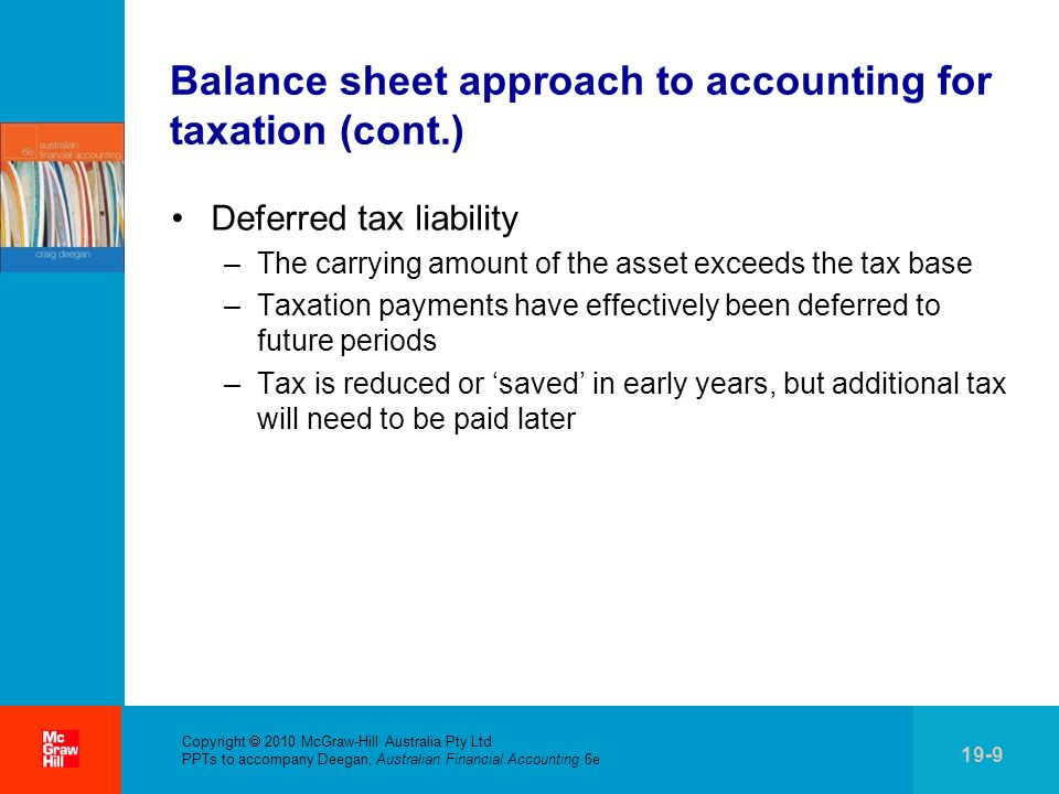 . Copyright  2010 McGraw-Hill Australia Pty Ltd PPTs to accompany Deegan, Australian Financial Accounting 6e 19-9 Balance sheet approach to accounting for taxation (cont.) Deferred tax liability –The carrying amount of the asset exceeds the tax base –Taxation payments have effectively been deferred to future periods –Tax is reduced or 'saved' in early years, but additional tax will need to be paid later