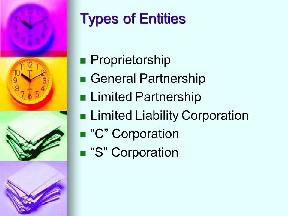 Types of Entities Proprietorship General Partnership Limited Partnership Limited Liability Corporation C Corporation S Corporation